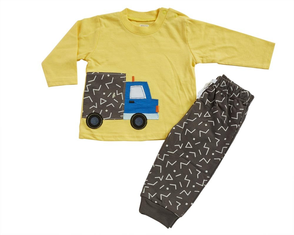 חליפת מעבר משאית צהוב מכנס פרנצ׳ טרי