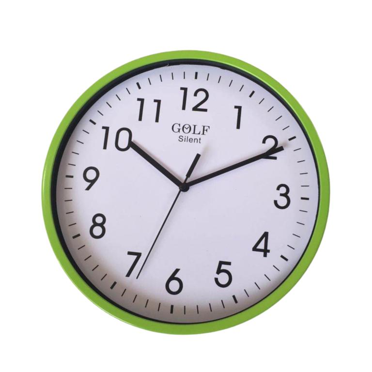 שעון קיר שקט גולף GOLF ירוק בהיר