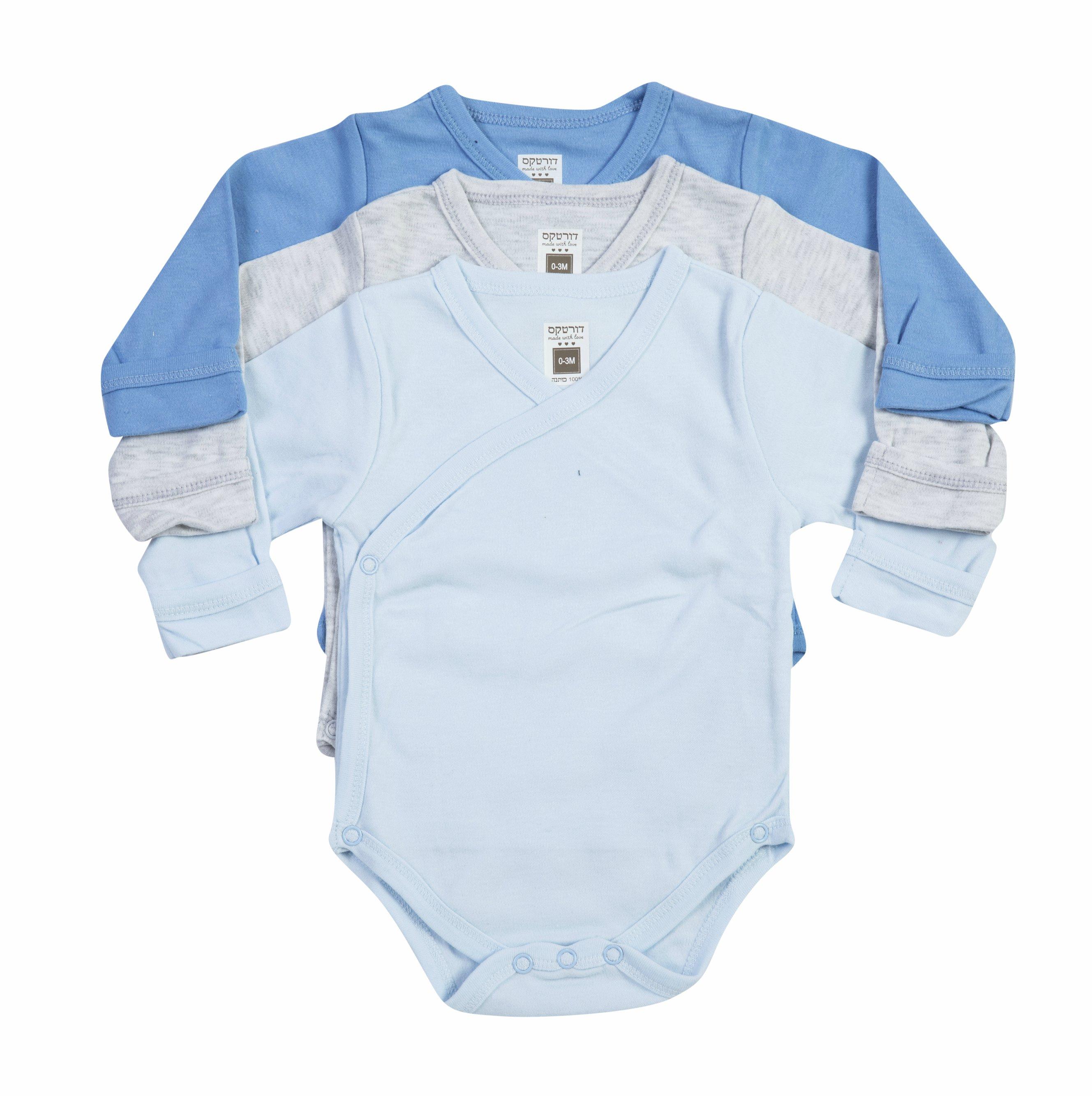 שלישיית בגדי גוף חזייה B-002 כחול/ אפור מלאנג'/ כחול בייבי