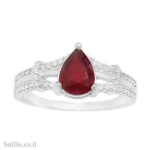 טבעת מכסף משובצת אבן רובי אדומה ואבני זרקון RG1705   תכשיטי כסף 925   טבעות כסף