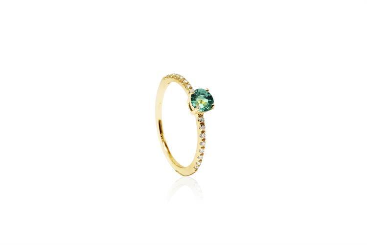 טבעת זהב יהלומים 0.15 קראט ואבן אמרלד
