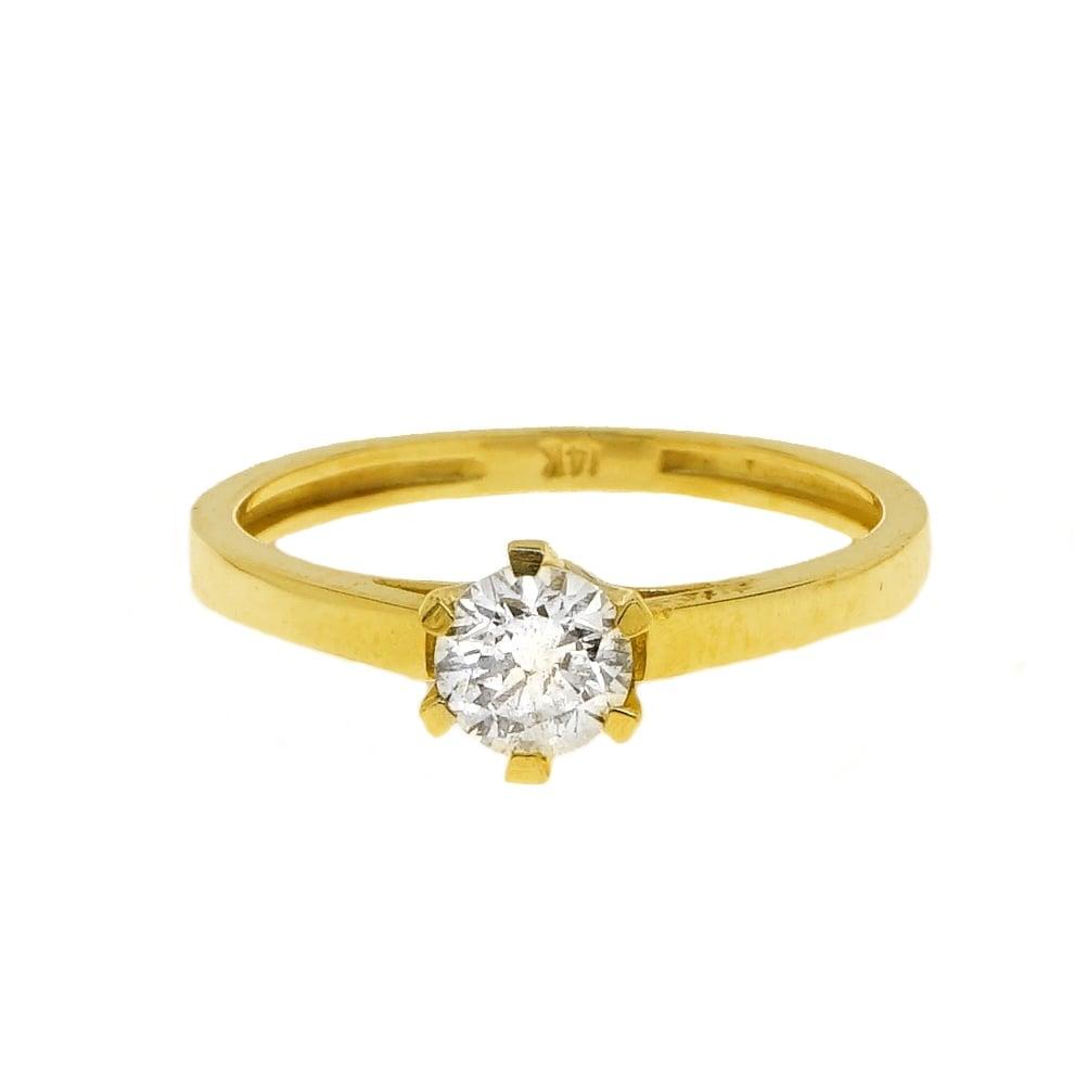 טבעת יהלום קלאסית 0.55 קראט  טבעת יהלום זהב צהוב 14 קרט תעודה IGL