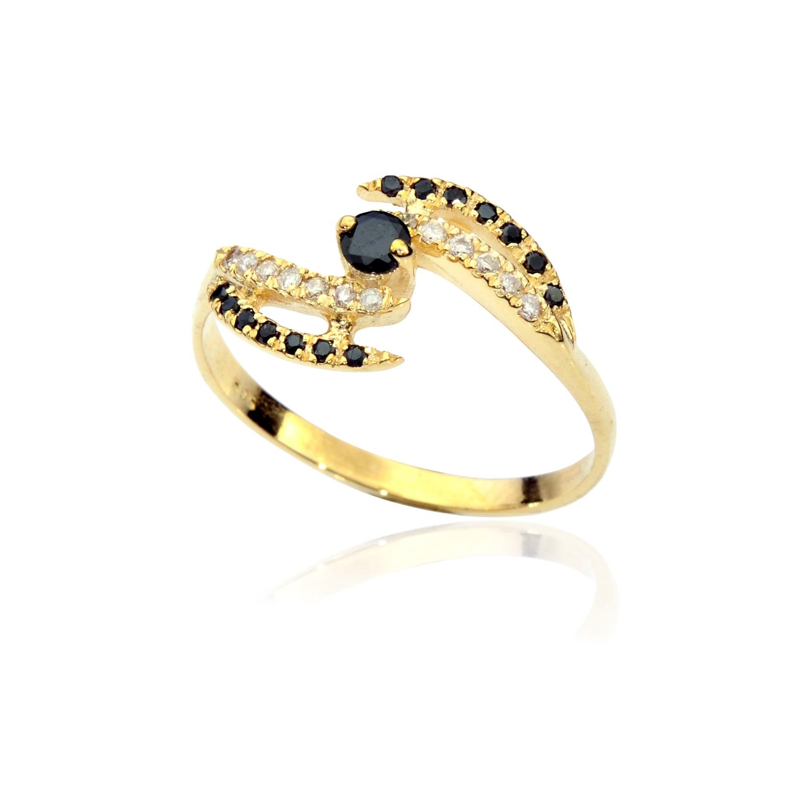 טבעת מניפה יהלומים שחורים ולבנים בזהב 14 קרט