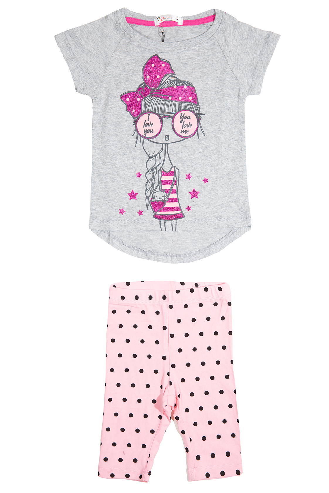 חליפה עם ציור ילדה חולצה אפורה