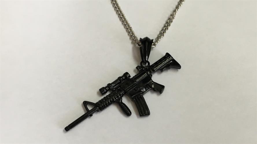 תליון פלדה גברים \ נשים דמוי נשק אוטומטי OP08170020MBS-IN