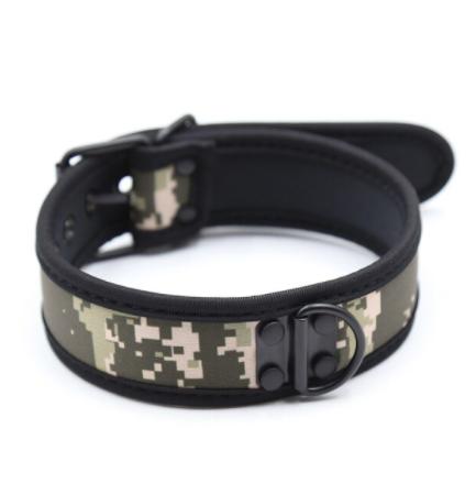 קולר לצוואר גבר בצבע צבאי איכותי BDSM
