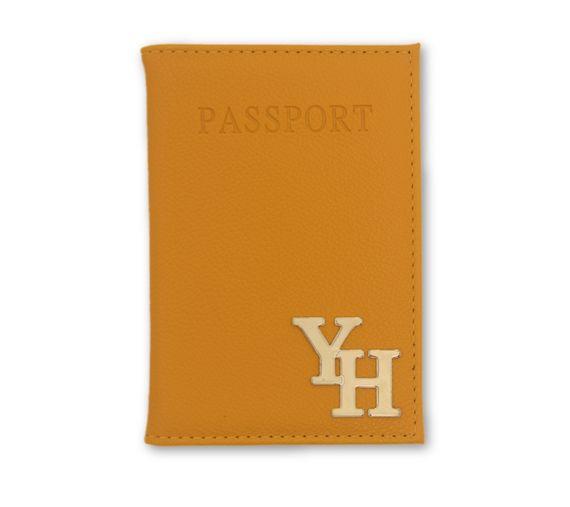 כיסוי לדרכון דמוי עור חרדל