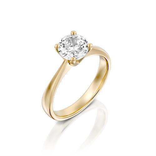 טבעת אירוסין זהב צהוב 14 קראט משובצת יהלום מרכזי CLASSIC YELLOW
