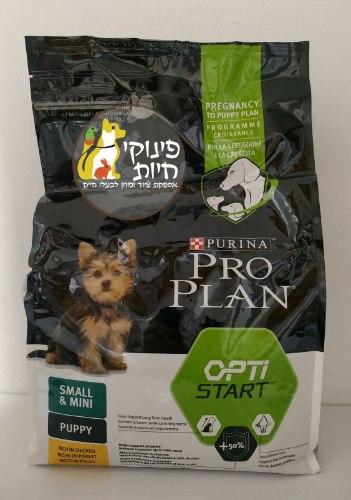 """מזון לגורי כלבים מגזע קטן 3 ק""""ג על בסיס עוף PRO PLAN"""