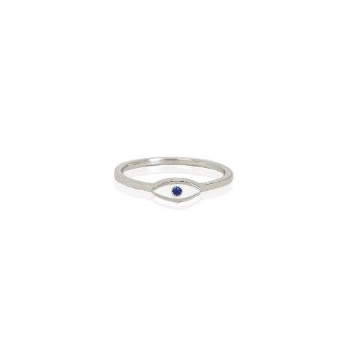 טבעת זהב עין עדינה עם אבן חן ואמייל