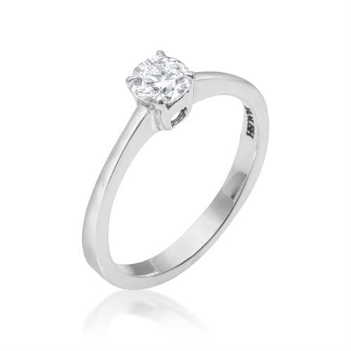 טבעת אירוסין יהלום אחד בזהב לבן 0.38 קראט