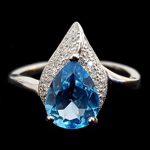 טבעת כסף משובצת טופז כחול וזרקונים RG4010 | תכשיטי כסף 925