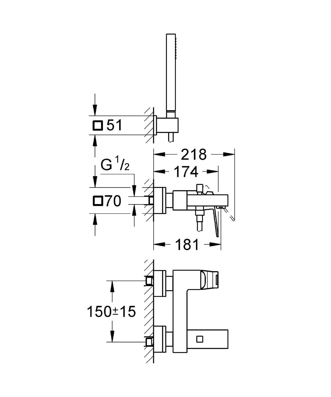 סוללה לאמבט תוצרת גרואה סדרת יורוקיוב דגם 23141000