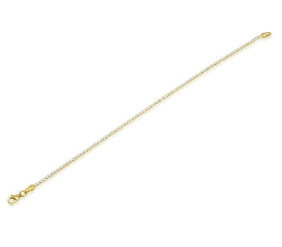 צמיד טניס זהב צהוב 14K בשיבוץ אבני זרקון עדין
