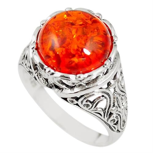 טבעת כסף מעוצבת משובצת ענבר RG5886 | תכשיטי כסף 925 | טבעות כסף