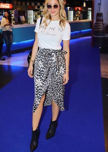 חצאית ג'ינה מנומר לבן