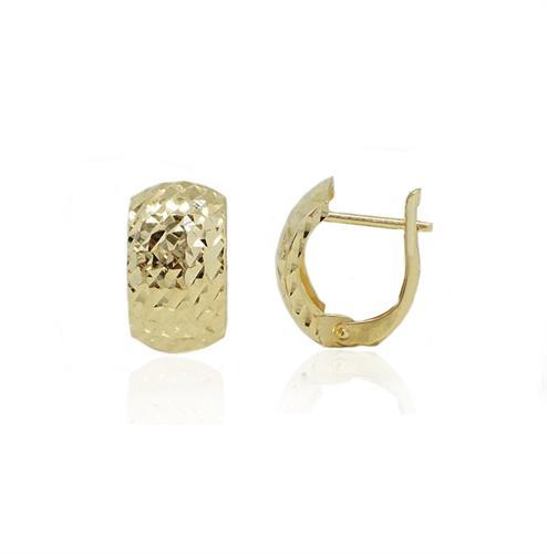 """עגילי חישוק זהב קטנים 1.5ס""""מ עם חריטת לייזר"""