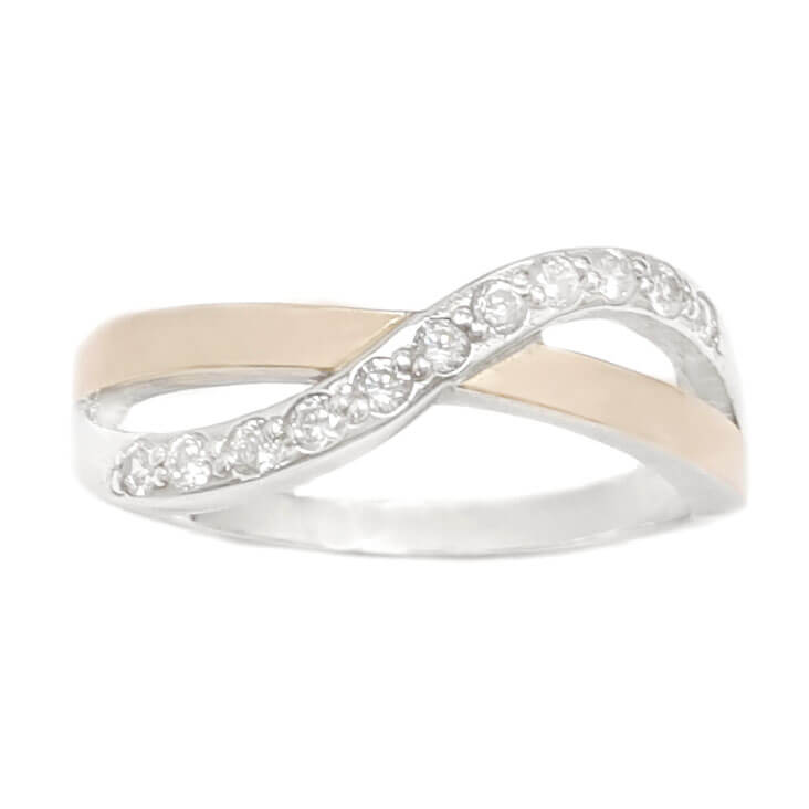 טבעת מכסף מצופה זהב 9K משובצת אבני זרקון  RG6084 | תכשיטי כסף | טבעות כסף
