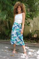 חצאית מעטפת עלים טורקיז