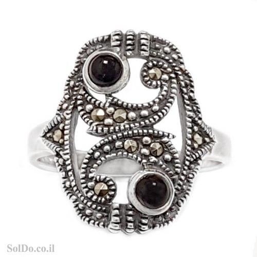 טבעת מכסף משובצת מרקזטים ואבני אוניקס RG6220 | תכשיטי כסף 925 | טבעות כסף