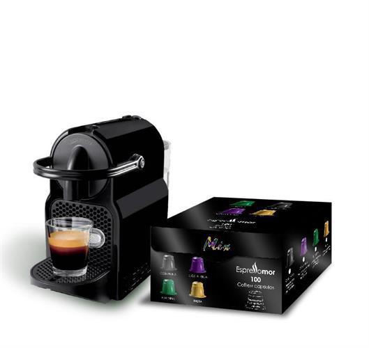 1,000 קפסולות תואמות + מכונת Nespresso inissia