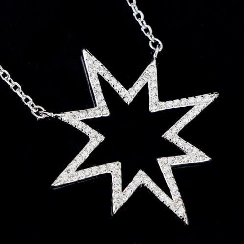 שרשרת ותליון כסף כוכב משובץ זרקונים T9781