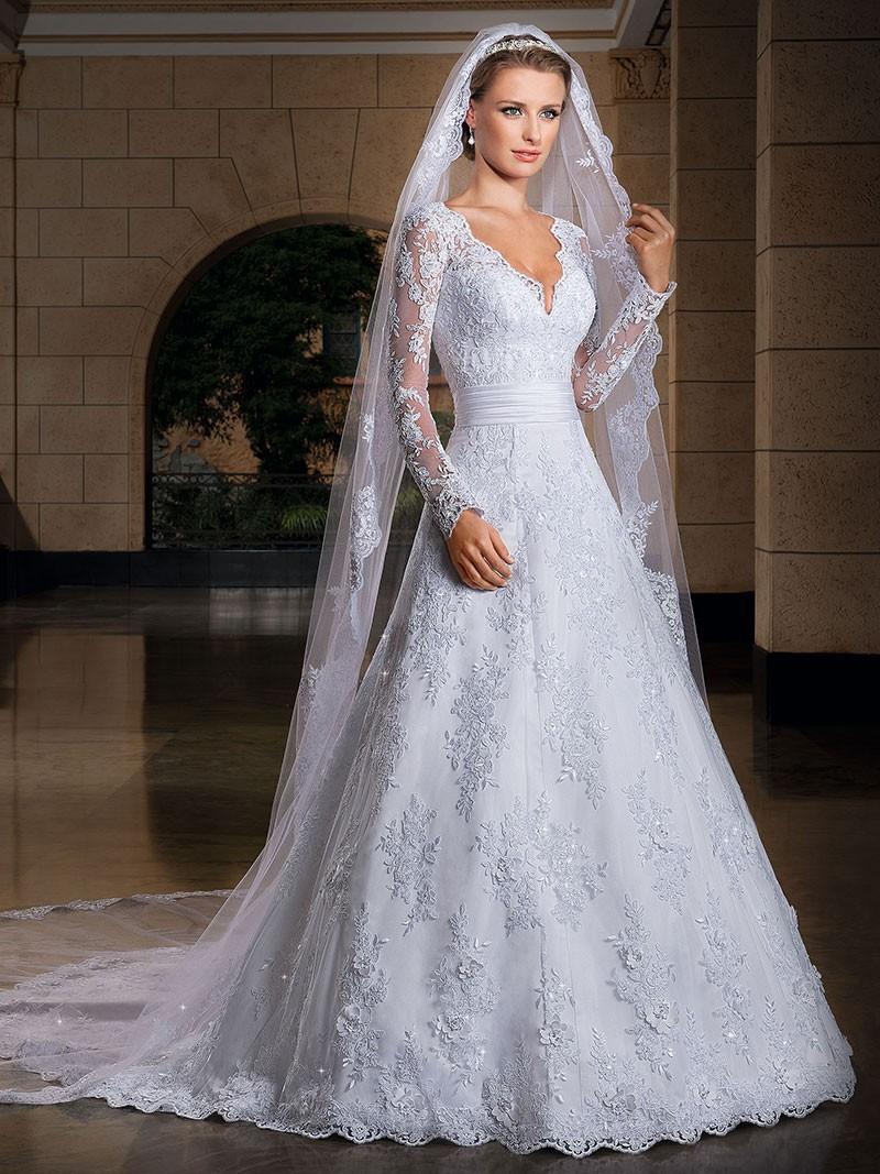 שמלת כלה סקסית תחרה שרוול ארוך בשילוב הינומה בהזמנה אישית