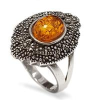 טבעת מכסף בשילוב ענבר צבע קוניאק ומרקזטים  RG5964 | תכשיטי כסף 925 | טבעות כסף