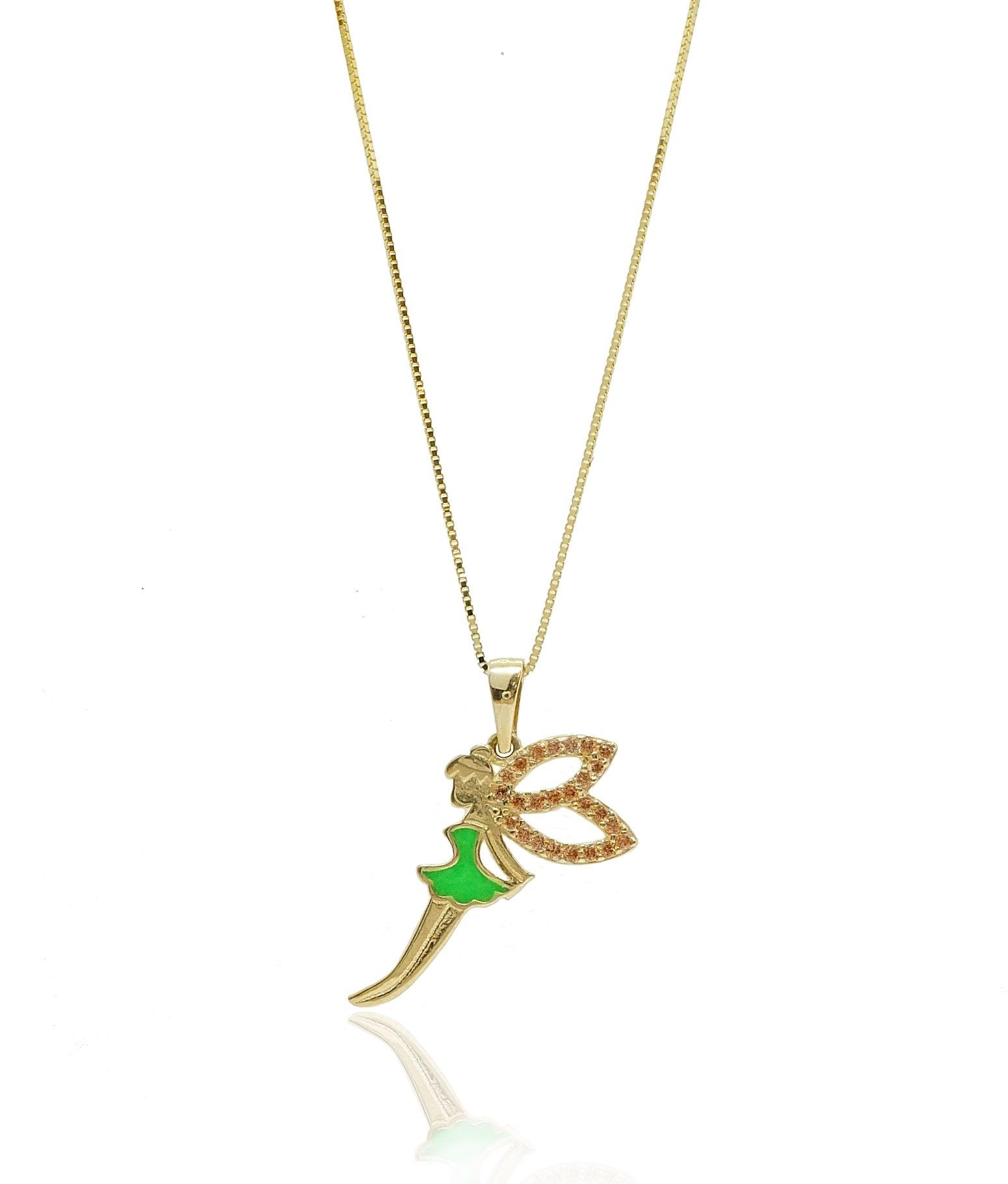 שרשרת פיות שרשרת פייה שרשרת ותליון זהב בסגנון פייה משובץ זרקונים