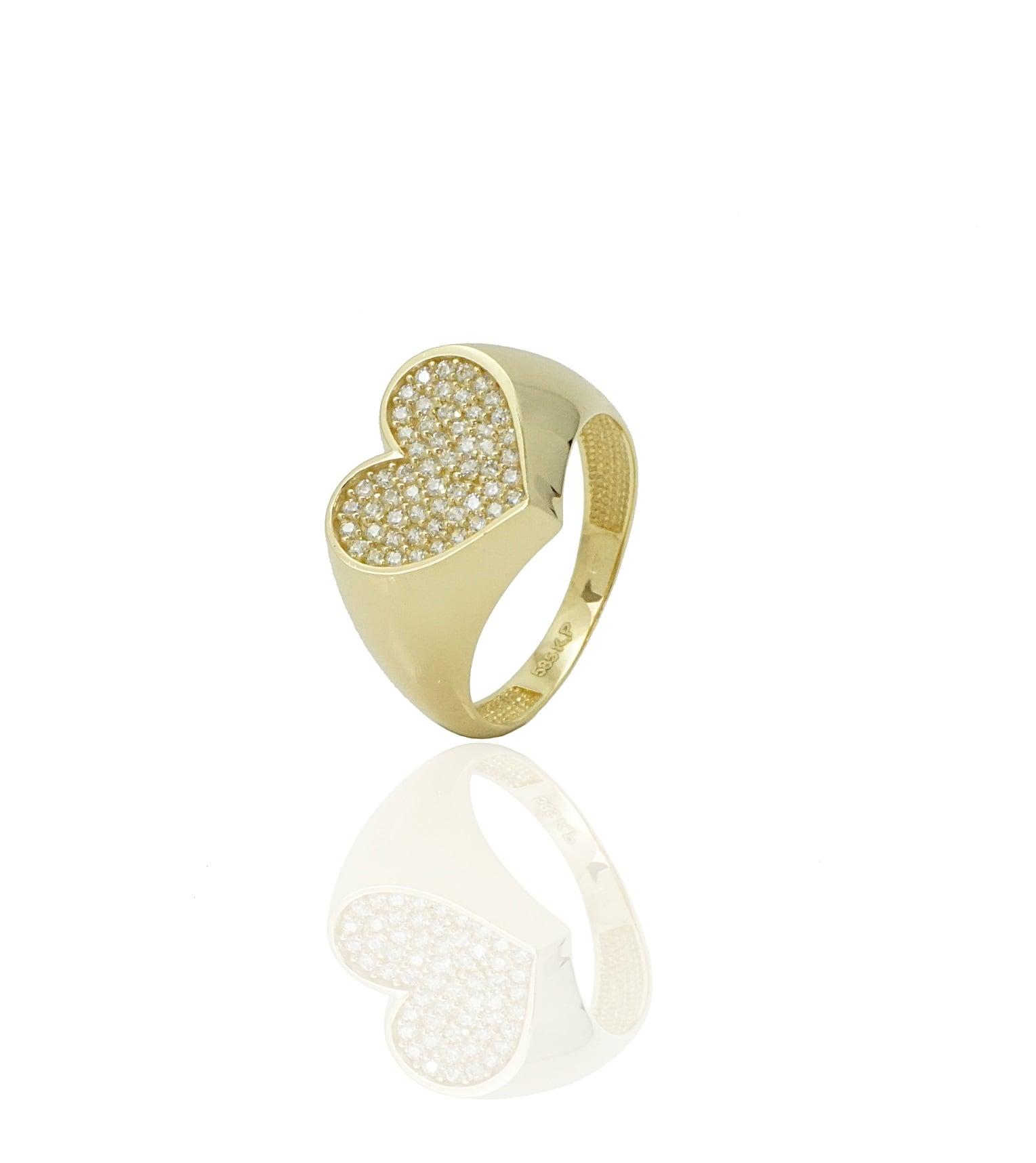 טבעת חותם לאשה טבעת לב זרקונים טבעת זהב בסגנון לב טבעת חותם לזרת מזהב