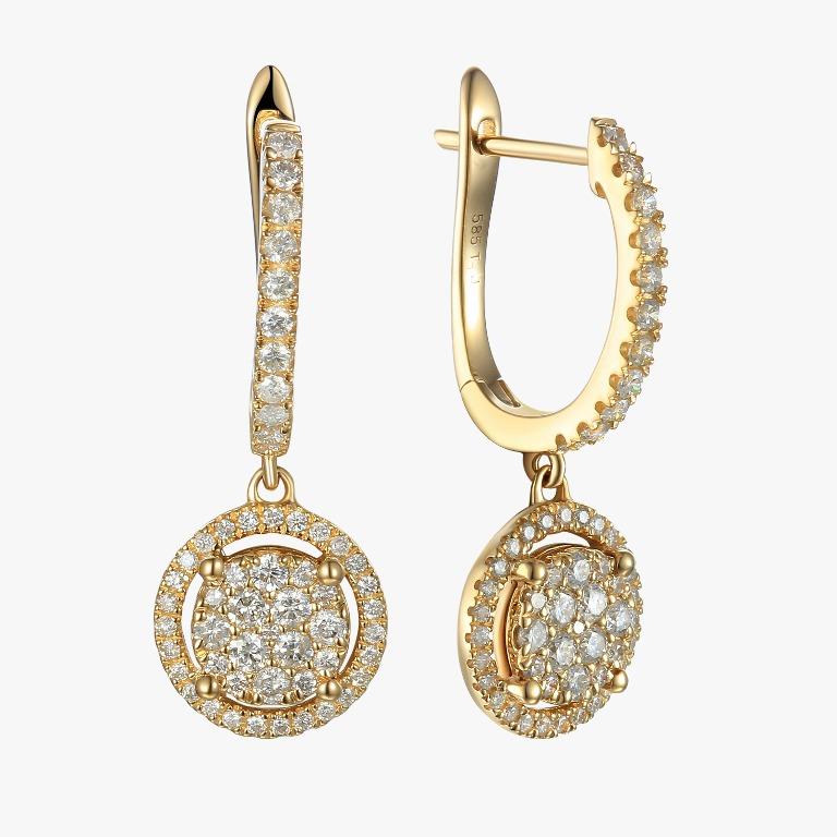עגילי זהב עם יהלומים