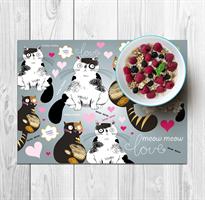 סט פלייסמטים למטבח ואירוח דגם cat love 1
