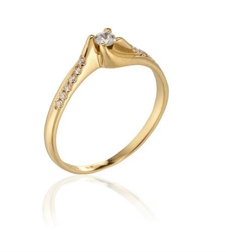 טבעת יהלום זהב בסגנון טוויסט 0.24 קראט