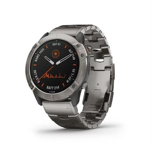 שעון דופק גרמין Garmin Fenix 6x Pro Solar Edition Titanium Bracelet