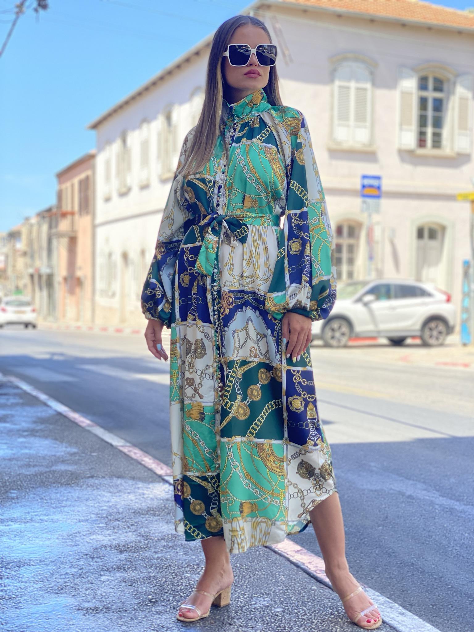 שמלת קאוולי סאטן מודפס ירוק