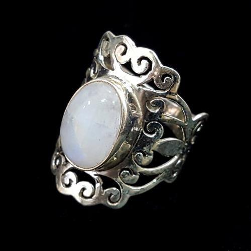 טבעת כסף משובצת אבן מונסטון RG7039 | תכשיטי כסף 925