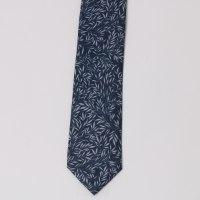 עניבה מודפסת עלים כחול/ אפור