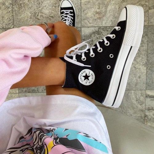 נעלי נשים CONVERSE גבוהות פלטפורמה שחור