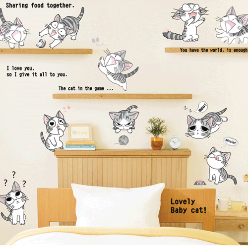 מדבקות קיר חתולים מצחיקים