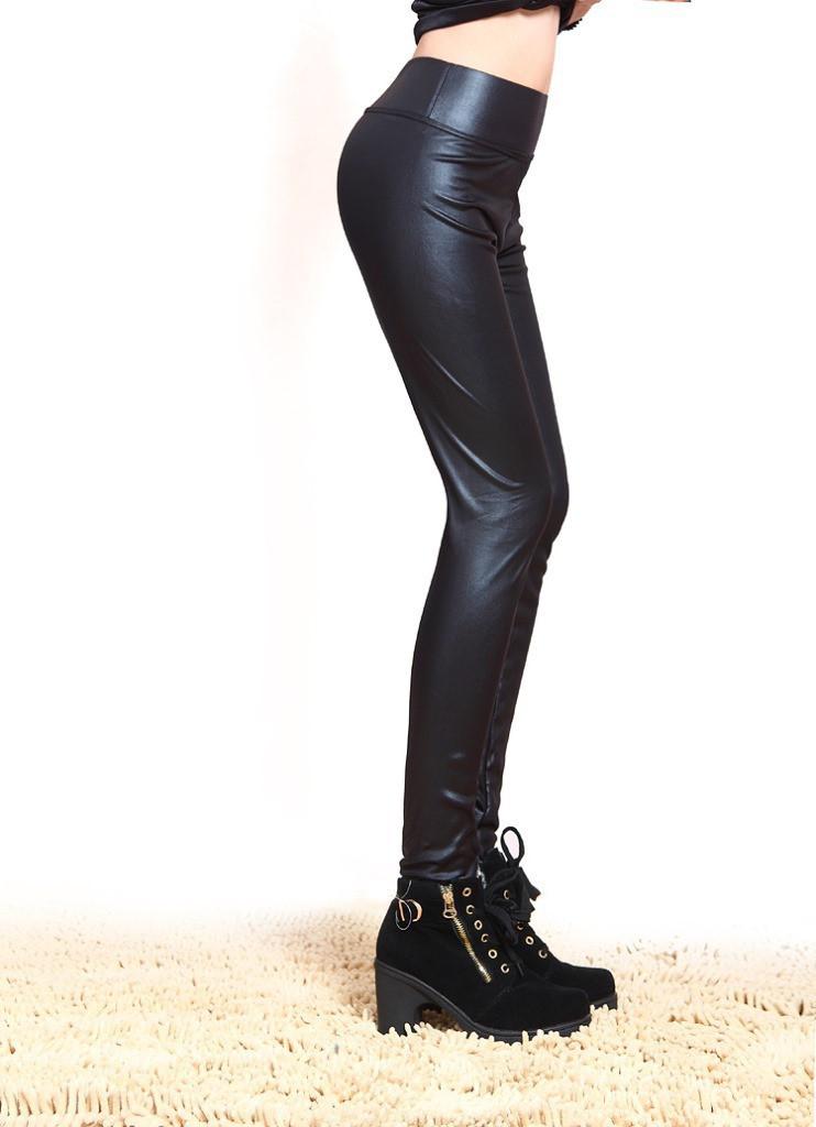מכנס טייץ נמתח דמוי עור אופנתי שחור