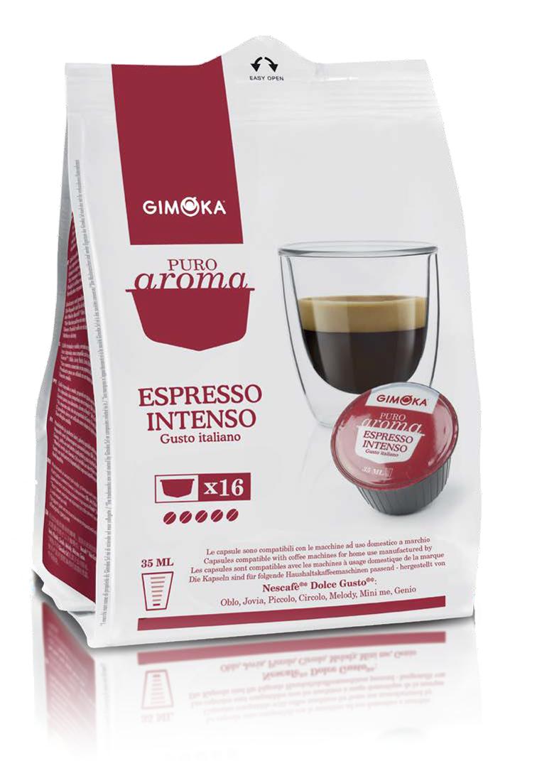 16 קפסולות איטלקיות תואמות דולצה גוסטו Gimoka Espresso Intenso Dolce Gusto