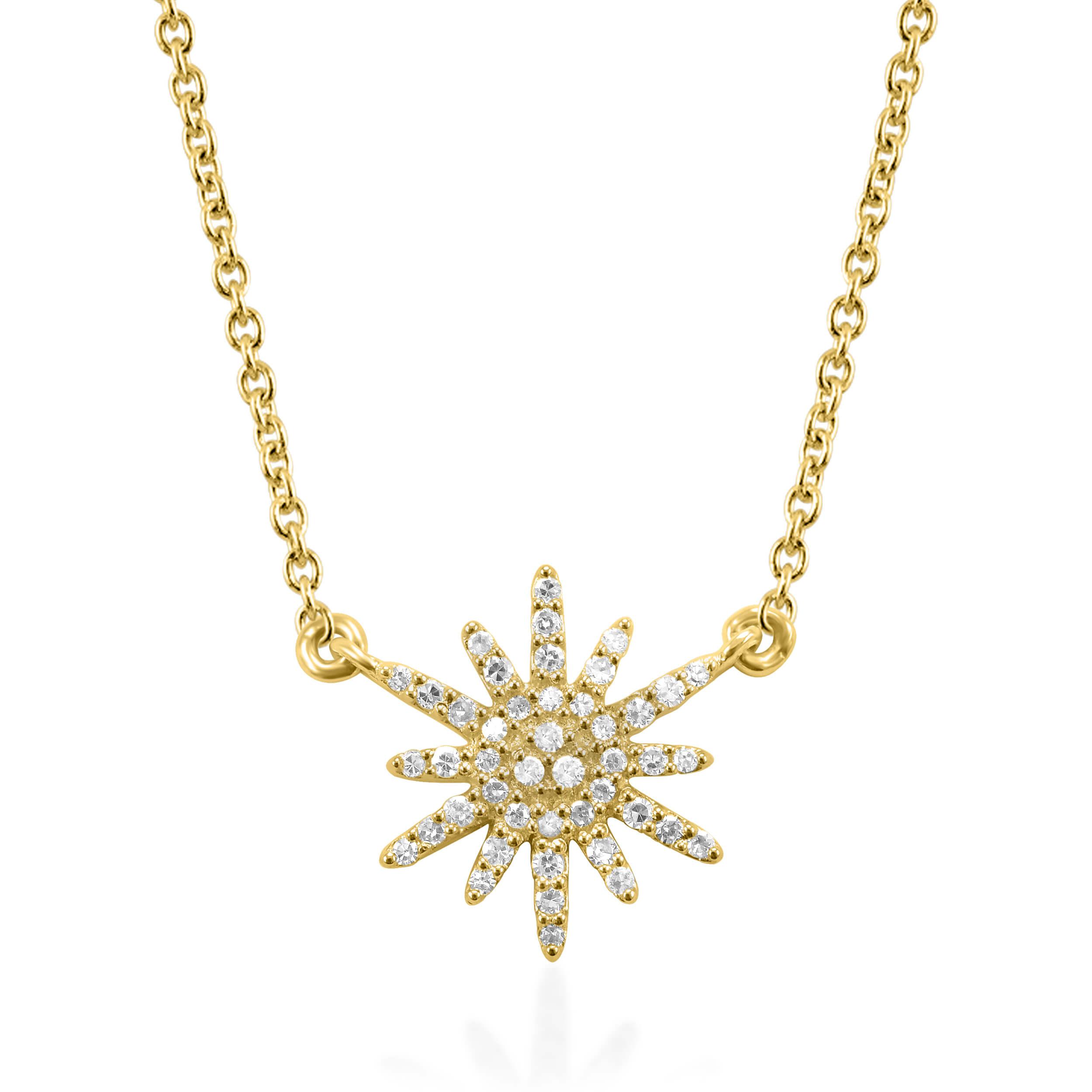 תליון ושרשרת זהב צהוב 14 קראט כוכב משובץ יהלומים