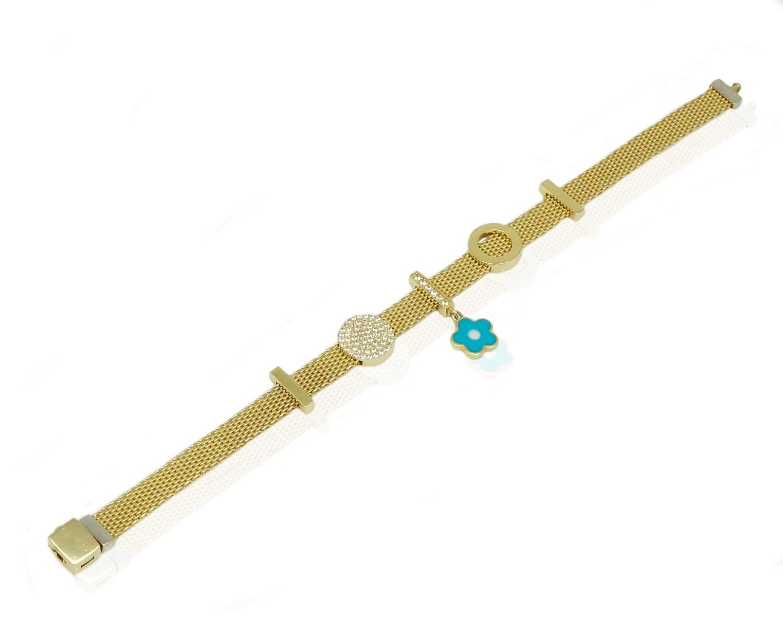 צמיד זהב לאישה או נערה עם צארמס \ תליונים זרקונים תלויים