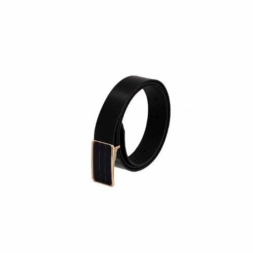 חגורה קלאסית עם אבזם פלטה זכוכית