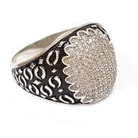 טבעת כסף לגבר משובצת זרקונים ועיטורים RG9911
