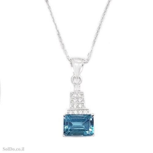 תליון מכסף משובץ אבן טופז כחולה ואבני זרקון T6242   תכשיטי כסף