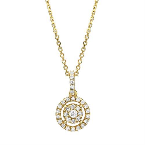שרשרת ותליון פרח היהלום זהב 14K משובץ יהלומים