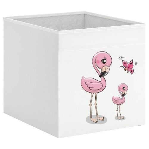 קופסת אחסון לכוורת עם הדפס-  פלמינגו