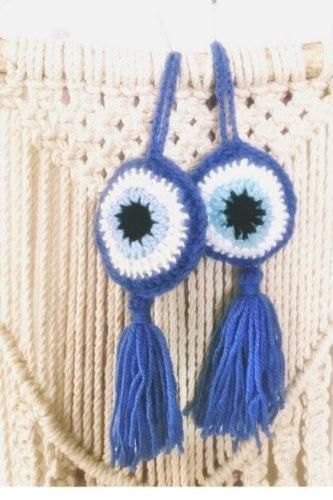 מתלים של  עין כחולה העין הטובה בשילוב כחול רויאל - סט זוגי של שתי עיניים