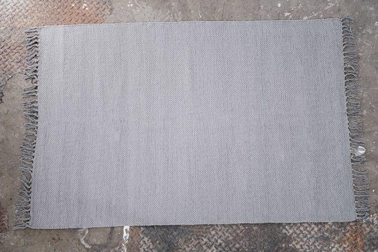 שטיח כותנה אריגה שטוחה - אפור בהיר